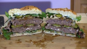 SmokingPit.com - Double Blue Cheese, Mushrooms & swiss Buffalo Burger grilled Santa Maria style on the Scottsdale by Arizona BBQ Outfitters. - The Money Shot!