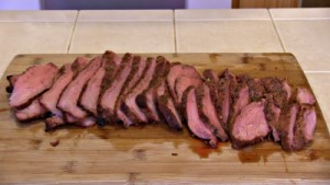 SmokingPit.com - Hoisin Marinated Tri-Tip Roast Beef  -  Slow smoked on a Yoder Wichita with Oak wok wood fire.  The Money shot!