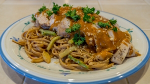 SmokingPit.com - Thai Peanut Chicken Noodle Salad - Alder Smoked Sous Vide cooked - The Money Shot!