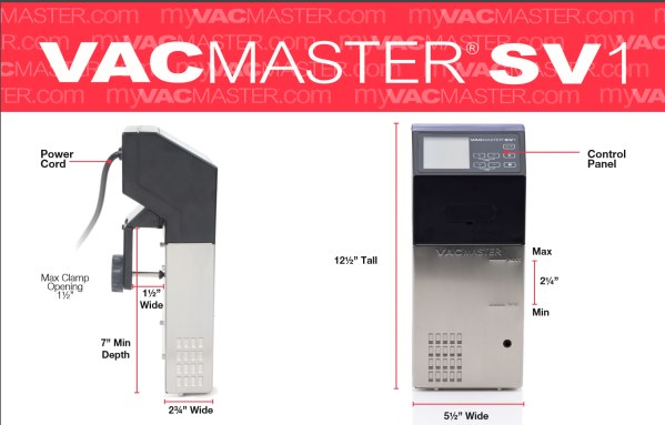 Vacmaster SV1 Sous Vide immersion circulator dimensions
