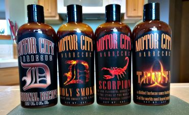 Motor City BBQ sauce line-up - Original, Holy SMoke, Scorpion and Trinity.