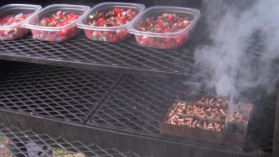 SmokingPit.com - Apple wood cold smoked Pico De Gallo using the A-MAZE-N-SMOKER cold smoke generator in a Yoder Wichita
