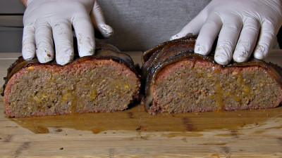 SmokingPit.com - Bacon Cheeseburger Meatloaf slow cooked on a Yoder YS640 Pellet cooker - The money shot!