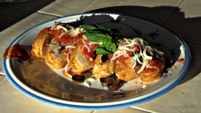 SmokingPit.com - Yoder YS640 - Chicken Parmesan Rolls with a marinara. Slow cooked on the Yoder YS640. - The money shot!