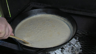 SmokingPit.com - Country Fried Steak & Gravy recipe wood fire cooked on my Scottsdale Santa Maria style cooker. Making the gravy.