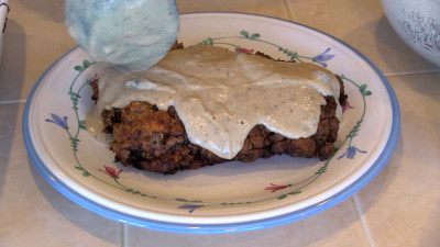 SmokingPit.com - Country Fried Steak & Gravy recipe wood fire cooked on my Scottsdale Santa Maria style cooker. The money Shot.