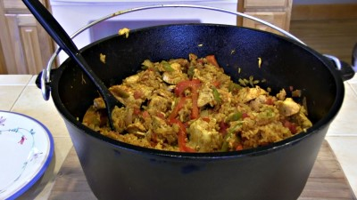 "SmokingPit.com - Dutch oven Arroz Con Pollo cooked in a Lodge 12"" dutch oven in my Scottsdale Santa Maria style cooker. Finished product."