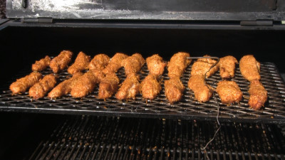 SmokingPit.com - Garlic Parmesan Chicken Tenders slow cooker on a Yoder YS640 Pellet cooker - Tenders coooked to 174 degrees F.