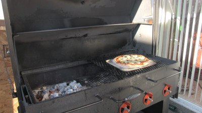 SmokingPit.com - Margherita Pizza recipe wood fire cooked on my Scottsdale Santa Maria style cooker. Cooking over a oak wood fire.