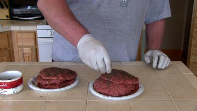 SmokingPit.com - Seared Tatonka Dust coated Buffalo Burgers  - Yoder YS640 cooked BBQ recipes & smoking meat tips and techniques. Adding Tatonka Dust.