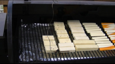SmokingPit.com - Hickory cold smoked cheese using the A-MAZE-N-SMOKER cold smoke generator.