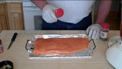 SmokingPit.com - Pecan & Cherry smoked Salmon with a Spicy Chipotle Lime Sauce - AMAZE-N-SMOKER cold smoked.   Smoked low and slow on my Yoder YS640 - Seasoning the Salmon.