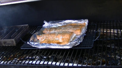 SmokingPit.com - Peach smoked Salmon with a sweet garlic marinade - AMAZE-N-SMOKER cold smoked.   Smoked low and slow on my Traeger Texas smoker grill. Sausage mesquite apple hickor, pecan, alder, oak wood fire cooked foods! Tacoma WA Washington