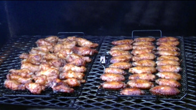 SmokingPit.com - Hickory smoked Tiger Sauced Caribbean Party Wings - Hot wings -  Smoked low and slow on my Traeger Texas smoker grill. mesquite apple hickor, pecan, alder, oak wood fire cooked foods! Tacoma WA Washington